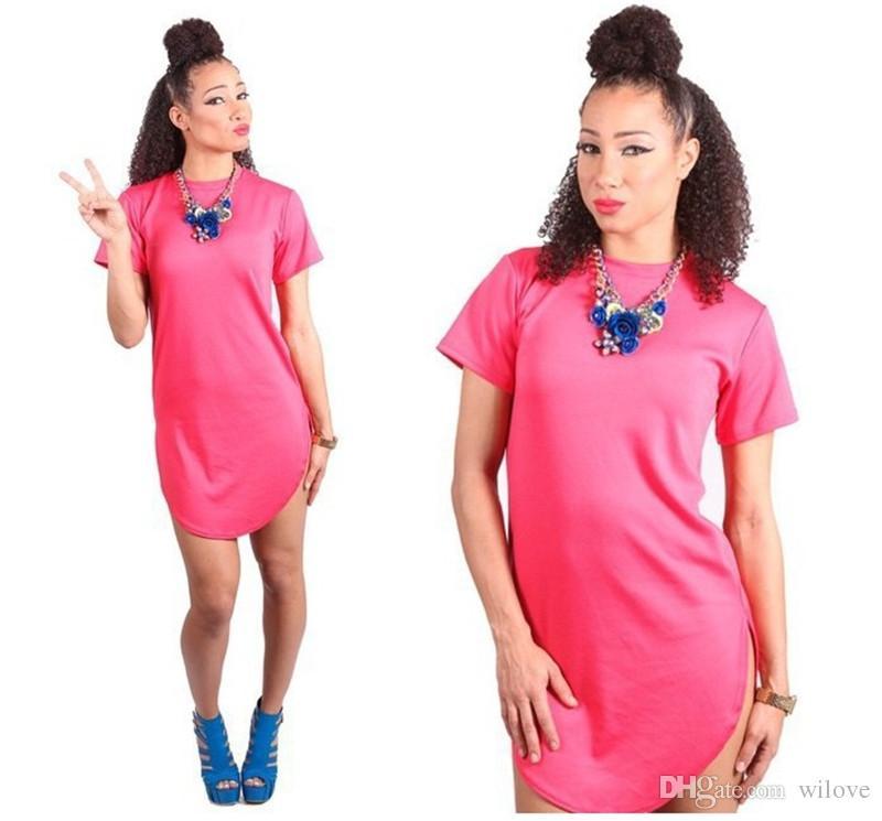 Yaz Seksi Bandaj Bodycon Kulübü Elbise Kısa Kollu Bölünmüş Bandaj Bodycon Ucuz O-Boyun Moda Parti Pamuk Kadınlar Için Rahat T-shirt Elbiseler