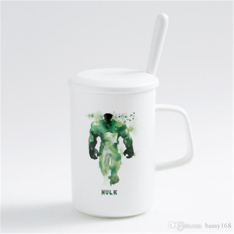 Ink Painting Ceramic Mug for Coffee Milk Water Tea Breakfast Cup With Spoon With Cap