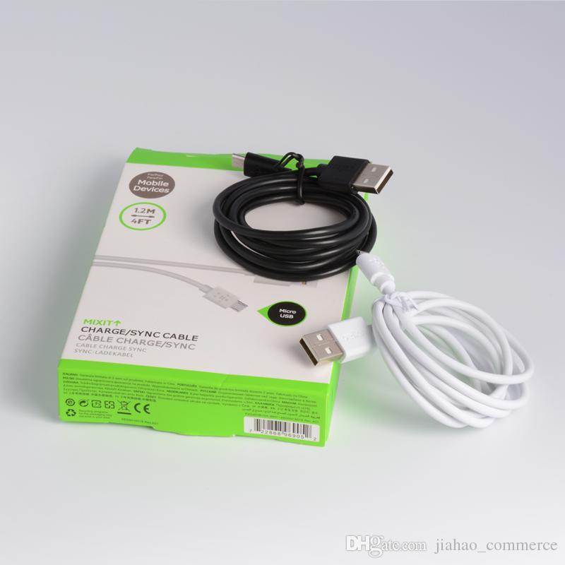 Para Data Sync Cabo USB 1.2 M 4FT Cabo de carregador Para Samsung S4 S5 suporta com Pacote de Varejo Alta Qualtiy