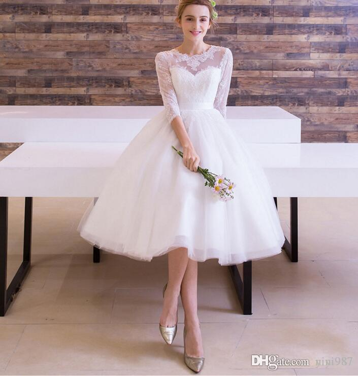 Half Sleeves Short Wedding Dress Complete