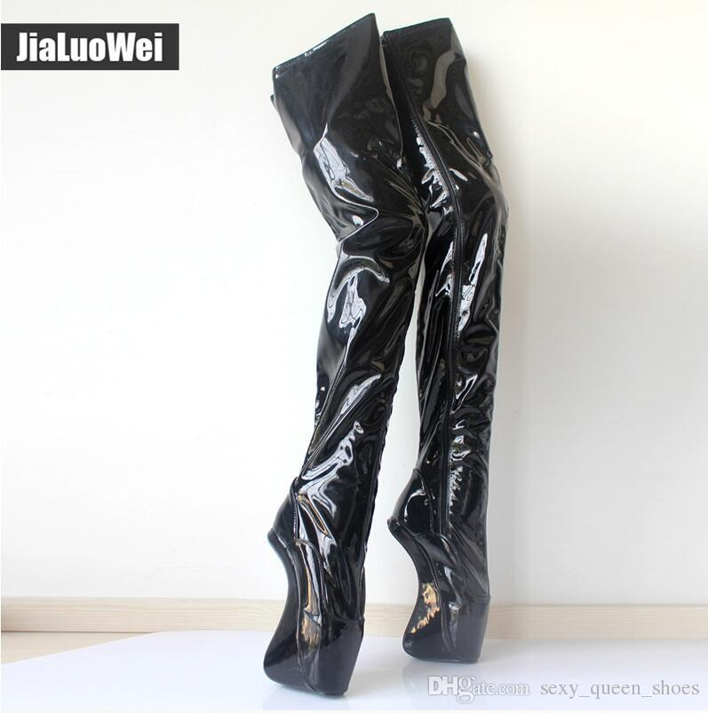 2018 NEW Women Extreme 18cm 7 High Heels Ballet Shoes Sexy Fetish Hoof No  Heel Over Knee Boots Ladies Crotch Boots Botas Waterproof Boots Western  Boots From ... c1e2e9d3e