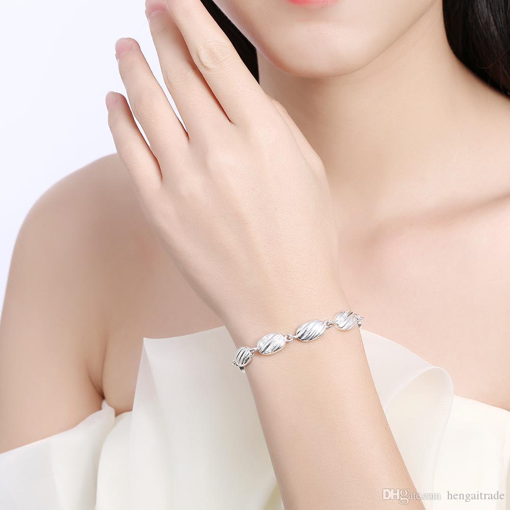 Wholesale 925 Sterling silver plated Lobster-claw-clasps charm bracelets LKNSPCH330