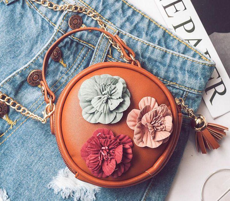 2017 Autumn Children Handbag Desinger Round Shaped Flora Kids Shoulder Chain Bag with Tassel PU Crossbody Bag Top Zipper Bags
