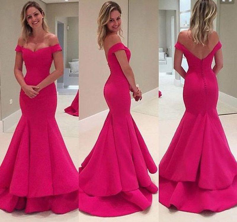 Fushica Vestidos Rosa Divino OS Mals Curtidos Da Semana Custom Made Mermaid Fishing Prom Dresses V cuello fuera del hombro