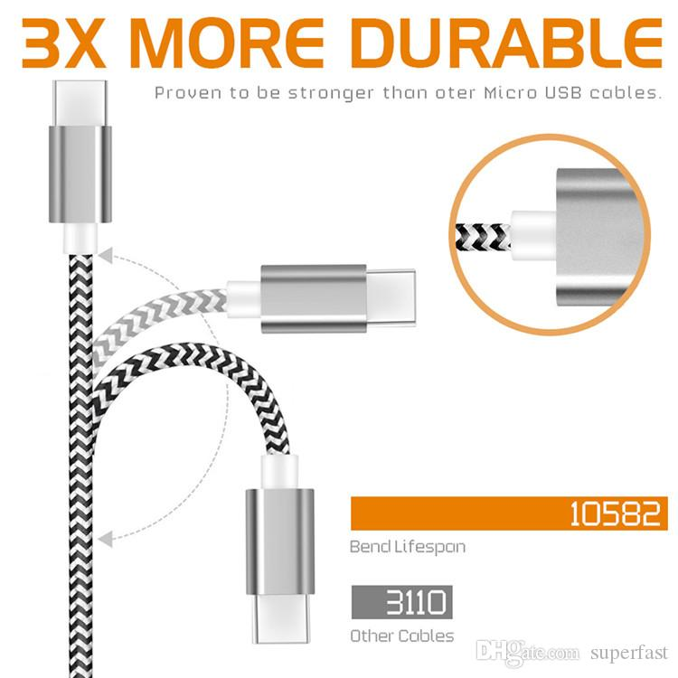 Cable de carga de sincronización de datos del cable USB de Colorfull cableado para cable de cable de carga tipo C sin paquete