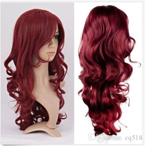 Women Lady Long Curly Hair Anime Cosplay Party Full Wig Wigs Wine
