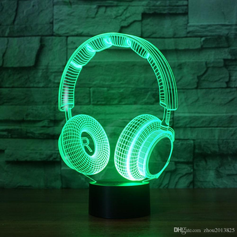 2019 Headphones 3d Night Light Changing Table Desk Deco Lamp Bedroom