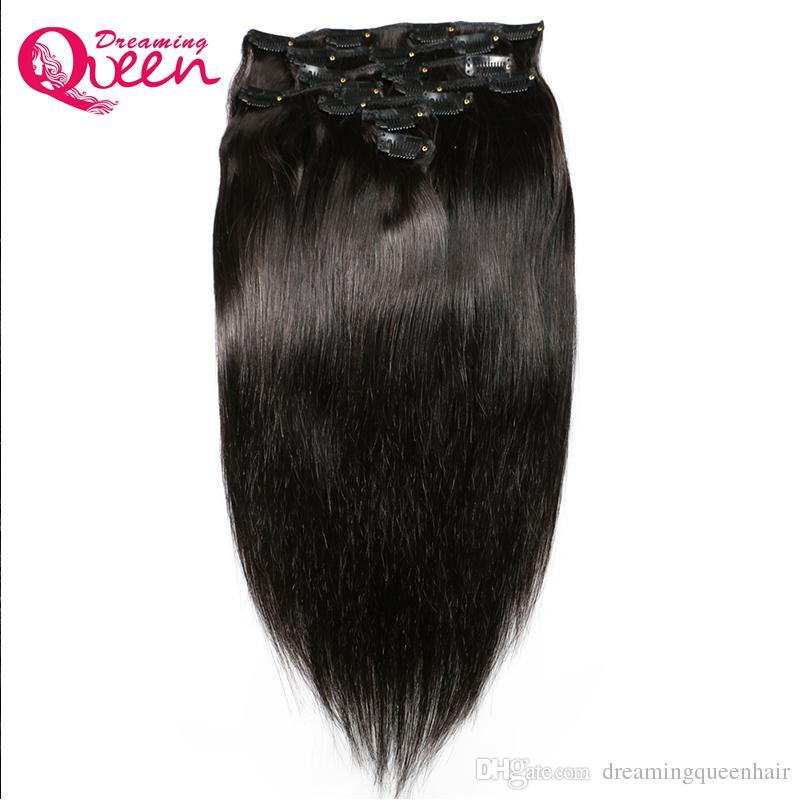 인간의 머리카락 확장에 브라질 스트레이트 헤어 클립 120g / 세트 1 번들 18 클립 기능 브라질 버진 인간의 머리카락 확장