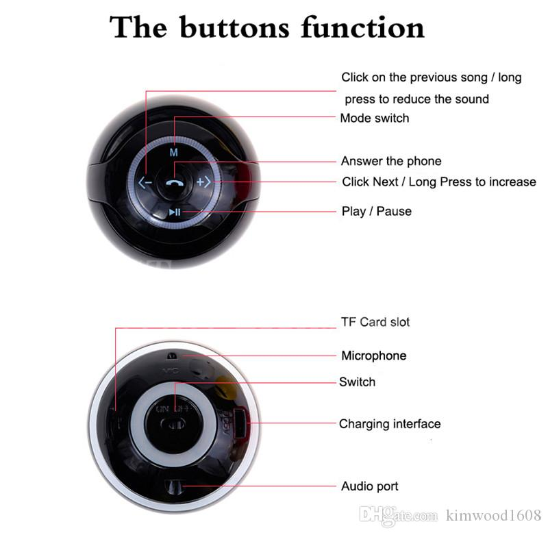 GS009 The Colorful Round Ball With LIGHT Bluetooth Speaker Outdoor Gift Creative Mini Small Stereo DHL