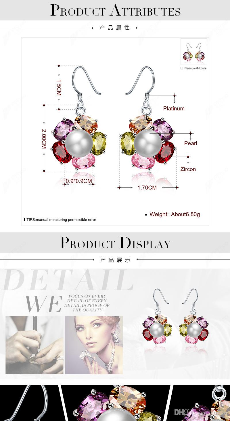 2017 NEW 925 sterling silver earrings Europe Color Crystals from Swarovski Earring With Charm for Women Gift Fine jewelry