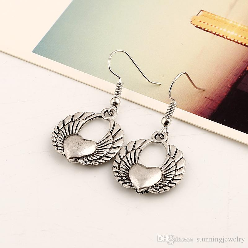 Wholesale Fashion Euramerican Exaggerated Vintage Earrings Heart Shaped Angel Wings Ear Cuff Fashion Jewelry For