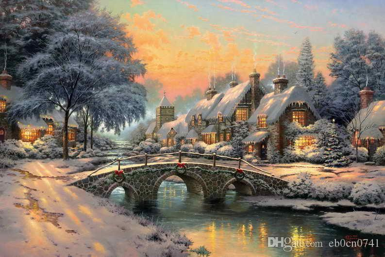 Cobblestone Christmas Thomas Kinkadet Fantasy Classic Decor Oil Paintings Art Print On Canvas No Frame ate gifts