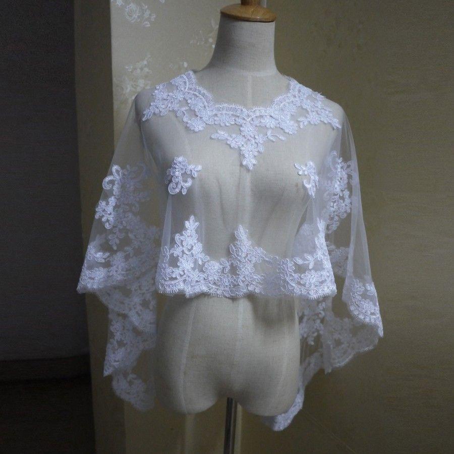 Custom Made White/Ivory Bridal Wraps Lace Wedding Bolero Scoop Neck Fashion Bridal Bolero 2019 Appliqued Formal Shawl for Bride