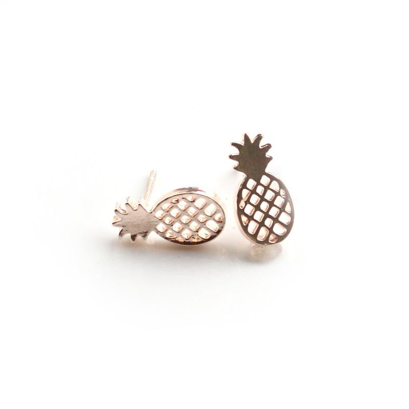 Personality fashion Best Gift, Minimalist Decoration Tiny Cute Fruit Pineapple Stud Earrings for Ladies