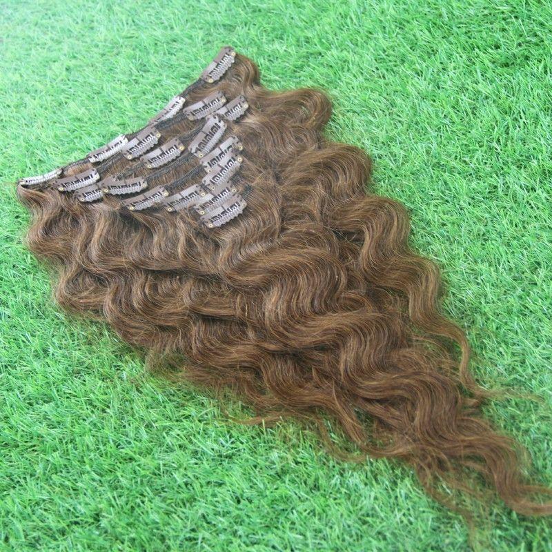Бразильская заколка для человеческих волос в виде объемной волны 100 г клипса для наращивания человеческих волос 7шт. Клип в наращивание человеческих волос из бразильской девственницы