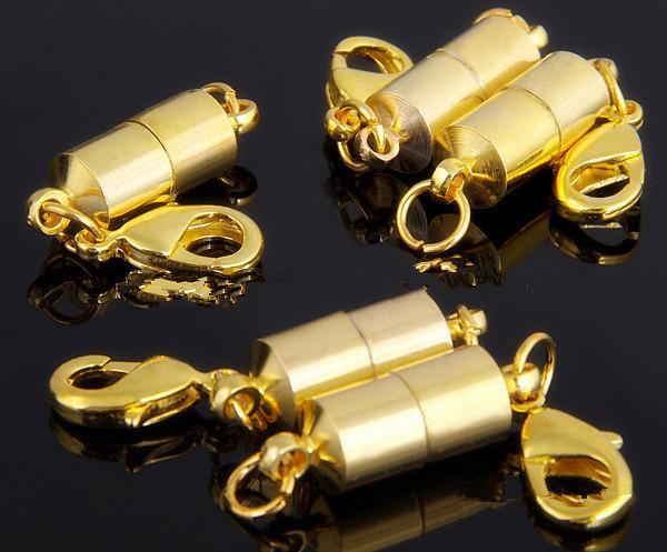 Gümüş / Altın Kaplama Manyetik Mıknatıs Kolye Klipsler Silindir kolye bilezik Takı DIY için şekilli Klipsler