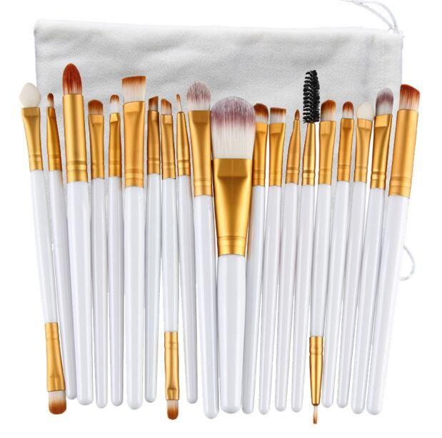 20 ADET Marka Makyaj Fırçalar Profesyonel Kozmetik Fırça Doğa Kontur Tozu Kozmetik Fırça Makyaj Ile Set