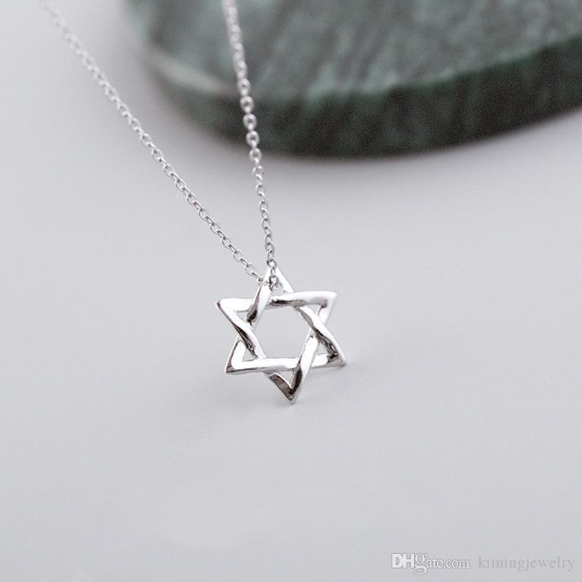 Real Pure 925 Sterling Silver Jewelry Hexagram Hollow 3D Star of David Pendant Necklace Women Statement collar de plata