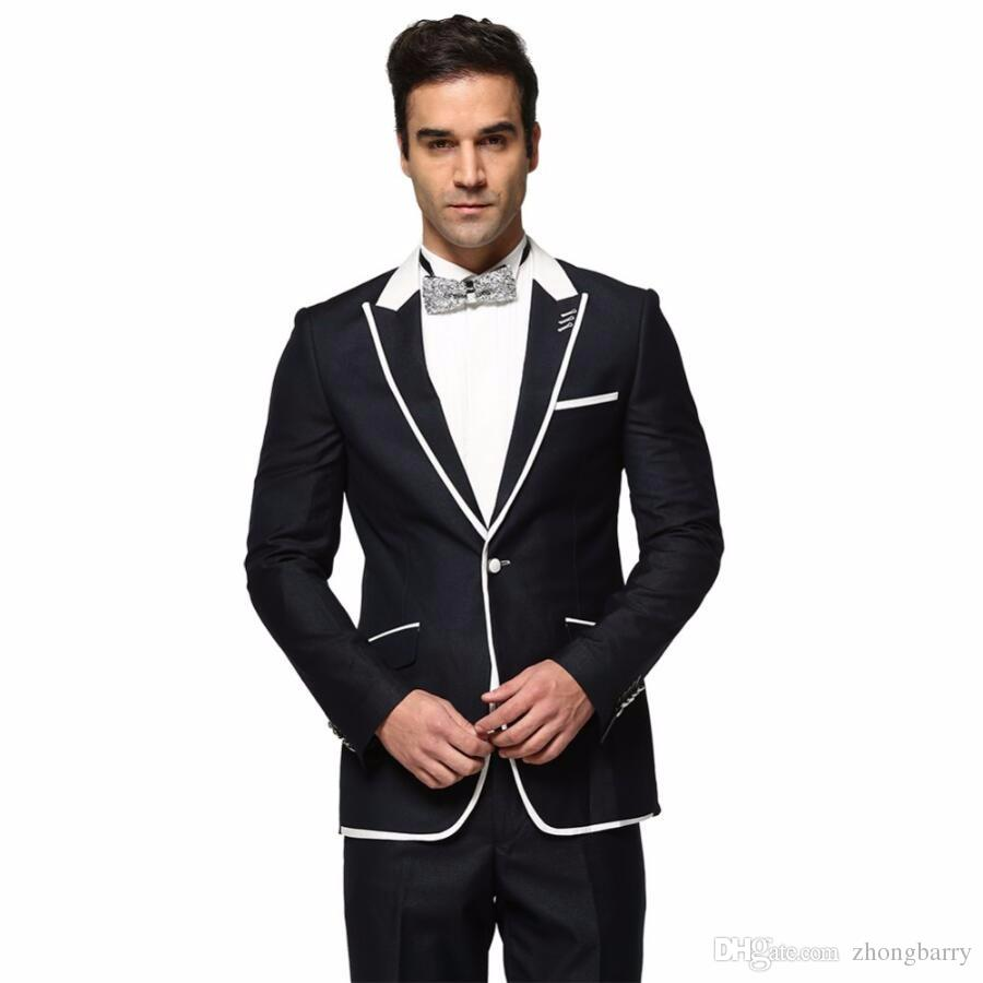 Jacket Pant Wedding Dress Men Formal Suits Spring Autumn Casual Long Sleeve Blazer Black And