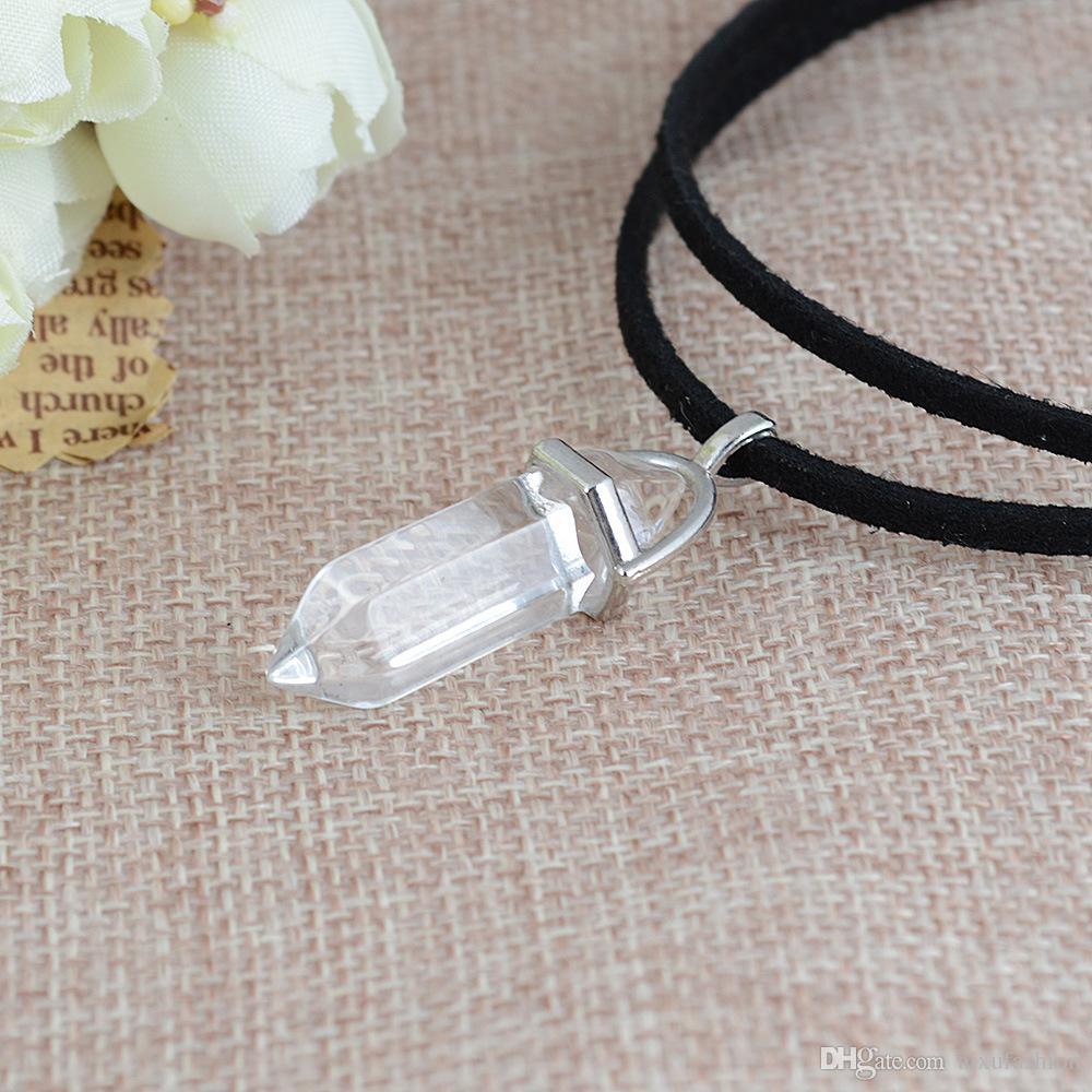 Cinturón de terciopelo doble Gargantillas Collares Personalidad Short Sum Warhead Cristal Natural Colgante Collar de clavícula Moda Mujeres Gargantilla Collar