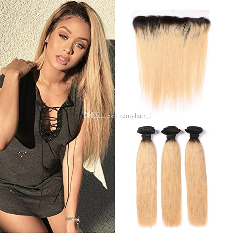 Two Tone Colored 1b27 Honey Blonde Ombre Virgin Human Hair Weave