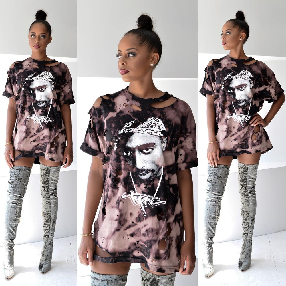 07387792c Wholesale Hot New T Shirt Women Print Shirt Dress 2016 Sexy Hole Tupac Hip  Hop Short Sleeve T Shirt Femme Tops Plus Size Clothing Tea Shirt Vintage Tee  ...