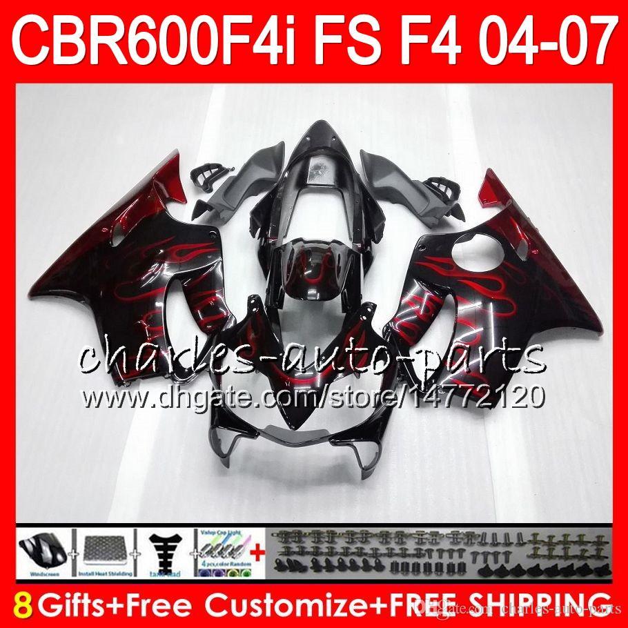 8Gifts pour HONDA CBR600FS FS CBR600F4i 04 05 06 07 AAHM12 flammes rouge CBR600 F4i CBR 600F4i CBR 600 F4i 2004 2005 2006 2007 Carénage