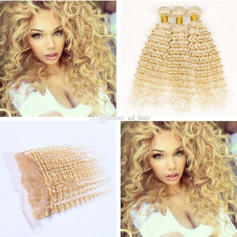Blondes 613 tiefe Welle Menschenhaar Bundles mit Spitze Frontal 13 * 4 Ohr zu Ohr volle Spitze Frontal mit Haarverlängerungen