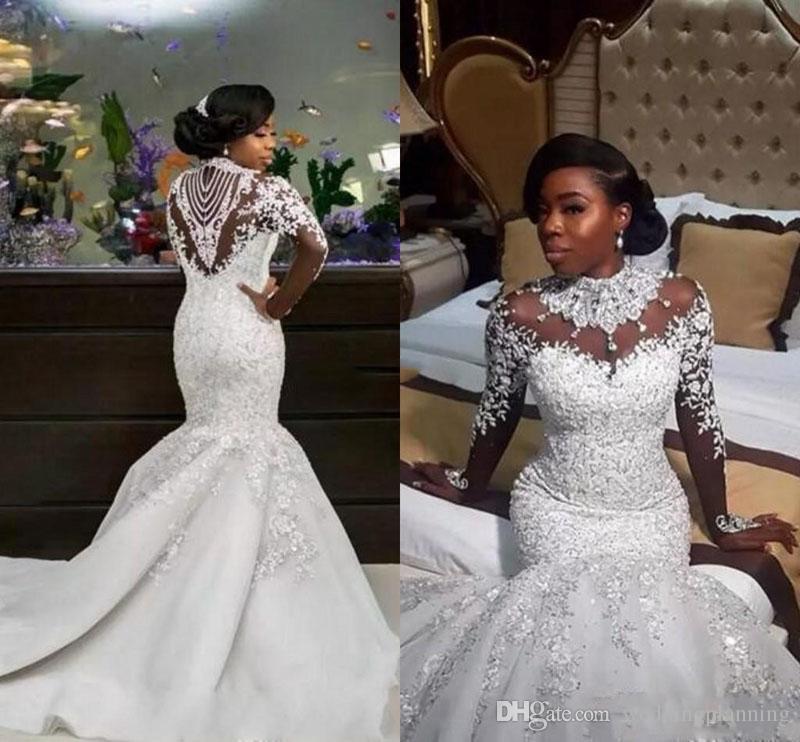 2017 Mais Recente de Luxo de Alta Pescoço Sereia Vestidos de Casamento Cristais Sheer Manga Comprida Sereia Vestidos de Noiva Vestido De Novia Rendas