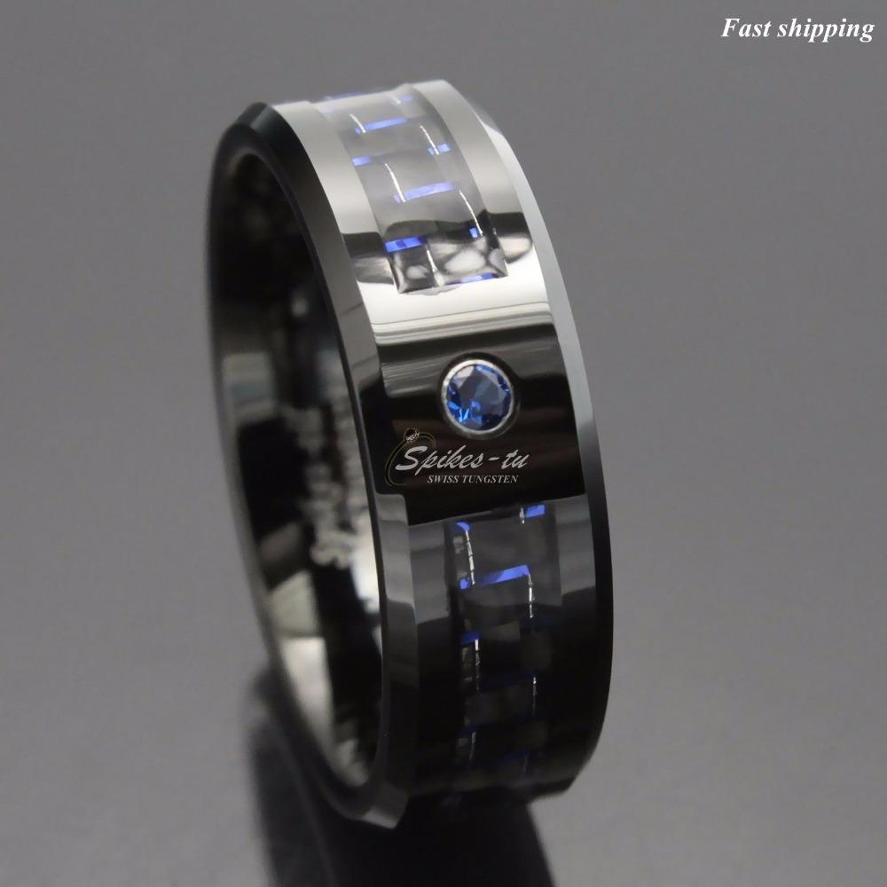 Wholesale Black And Blue Carbon Fiber Tungsten Ring Blue Mens