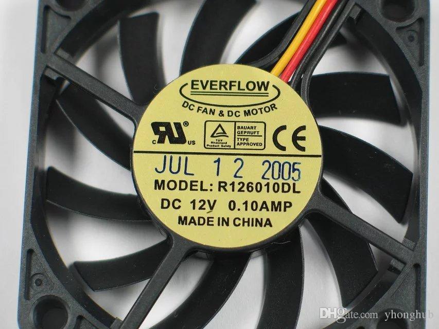 Livraison Gratuite Pour EVERFLOW R126010DL DC 12 V 0.10A 3-fil 3 broches connecteur 70mm 60X60X10mm Serveur Carré Ventilateur De Refroidissement