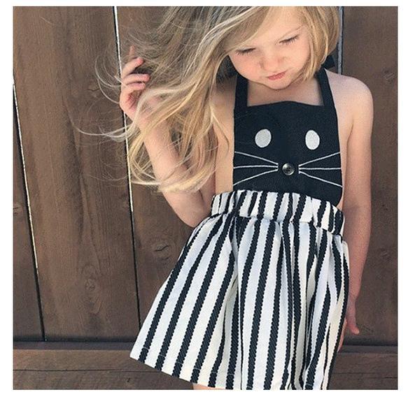 a1dec777b3 2019 New Baby Girls Embroidery Cat Striped Suspender Overalls Dress Infant  Toddler Sleeveless Backless Slip Skirts Children Kids Braces Dresses From  ...