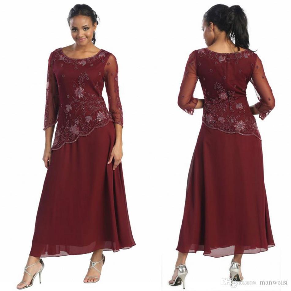 Plus Size Tea Length Mother Of Bride Dresses 3/4 Sleeve Beads Sppliqued  Vintage Formal Evening Gowns A Line Wedding Guest Dress