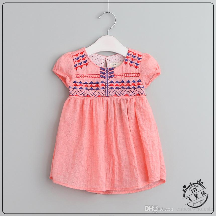 Kids Girls Embroidered Floral Dresses Baby Girl Cotton Linen Princess Dress 2017 Girl Spring Summer Clothing children's clothes