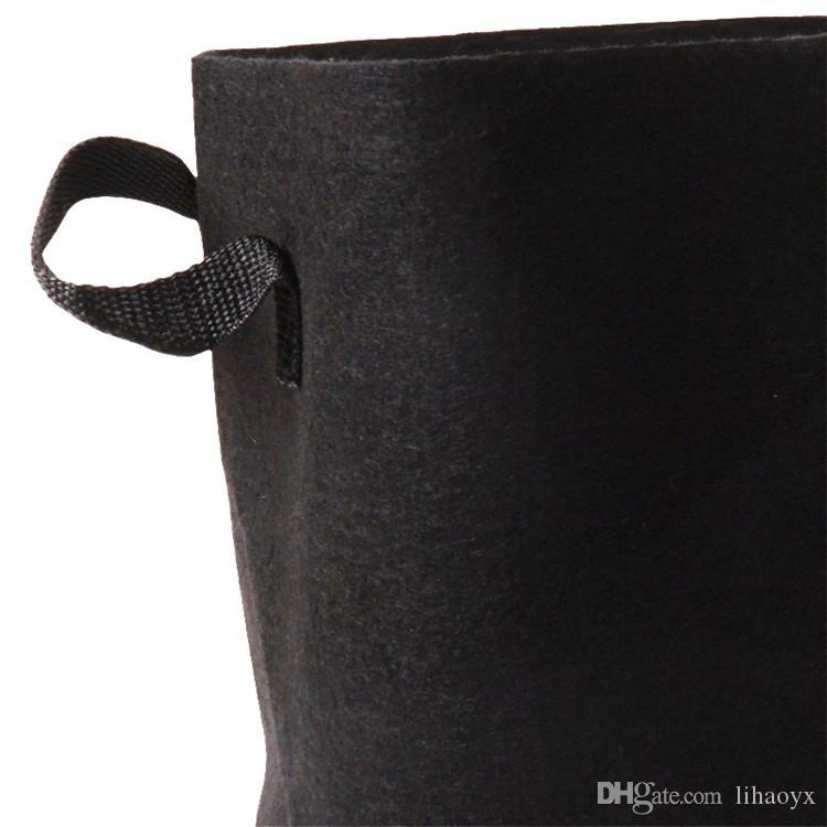 Tecidos nonwoven Gallon Crescer Saco Handles Redondo Potenciômetros Potenciômetros Planta Bolsa Raiz Grow Bag Aeration Pot Recipiente 10 Tamanho C183