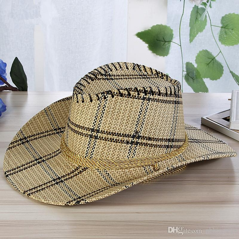 Men Plaid Straw Cowboy Hat With Rope Women Wild Brim Western Cap Chin Strap Cowgirl Sun Hats Summer Unisex Caps UV Protection
