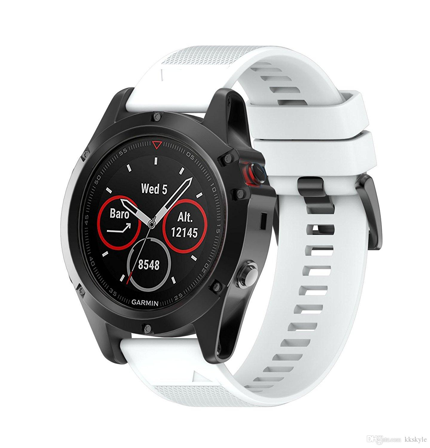 Garmin Fenix 5X Bands,Quick Install Band Silicone Replacement Accessories Straps for Fenix 5S GPS Smart Watch No Garmin Watch Included