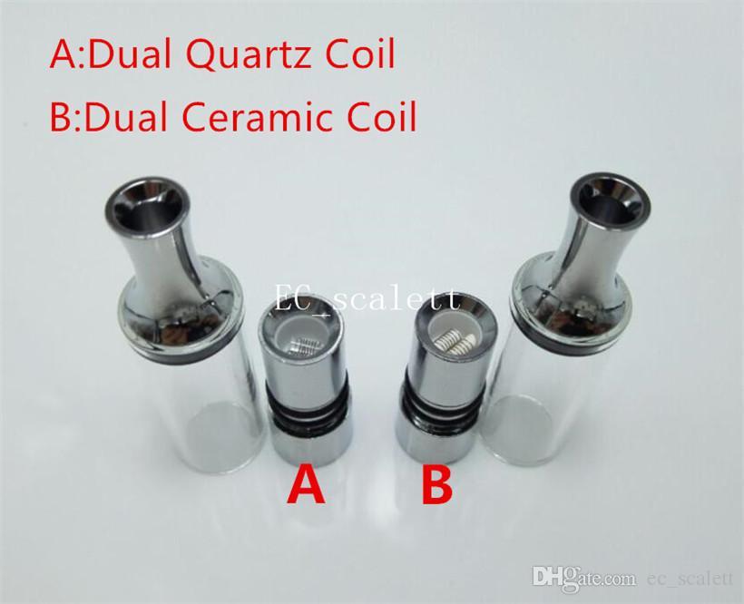 Vhit glass atomizer dry herb atomizer Dual quartz coils ceramic coil with metal drip tip straight tube glass tank wax Vapor