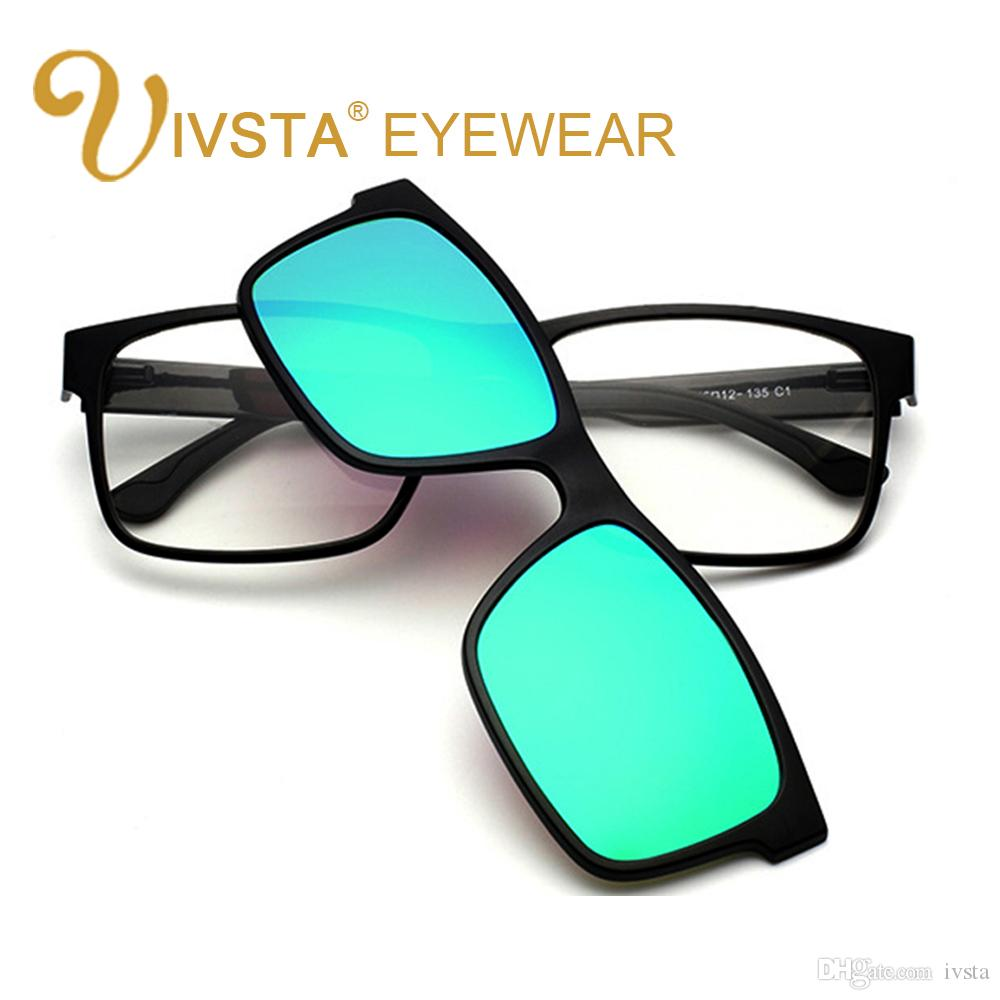 15e0765d6b IVSTA Polarized Clip On Sunglasses Men Custom Prescription Lenses Magnetic  Clips Night Vision Glasses TR90 Optical Frame Sunglasses Brands Best  Sunglasses ...