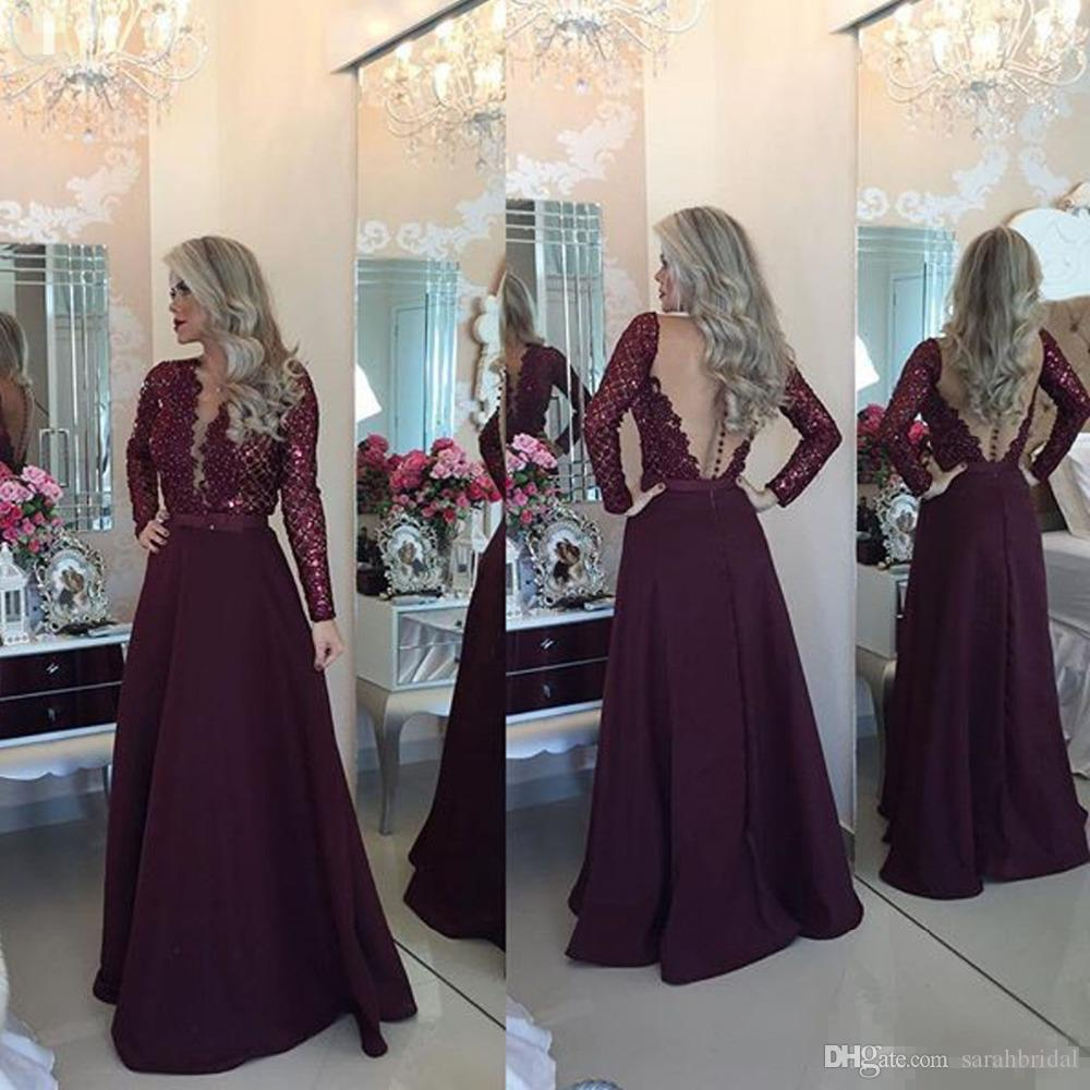 Long Sleeve Prom Dresses V-Neck Sheer Back Button Lace Evening Party Gowns Floor Length A-Line Vestido Cheap Long Mother Dress 2019