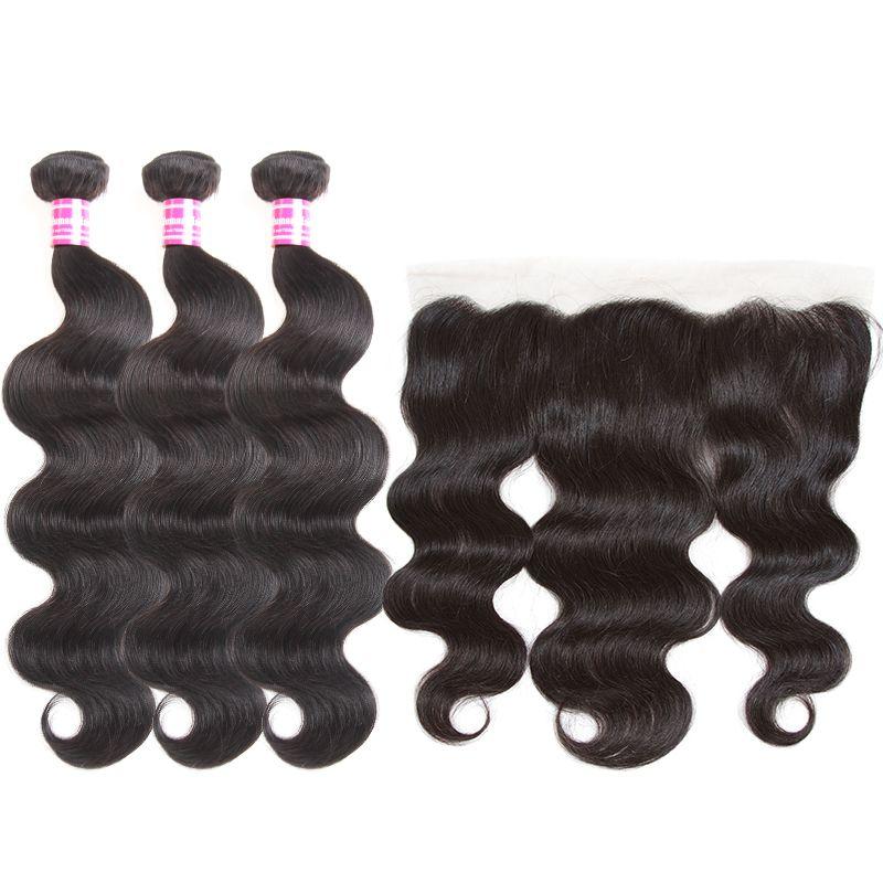 Glare Günstige Brasilianische Reine Haarkörperwelle Gerade 3 Bundle Und 4x4 spitzenverschluss oder 13x4 spitze frontal menschenhaar schuss