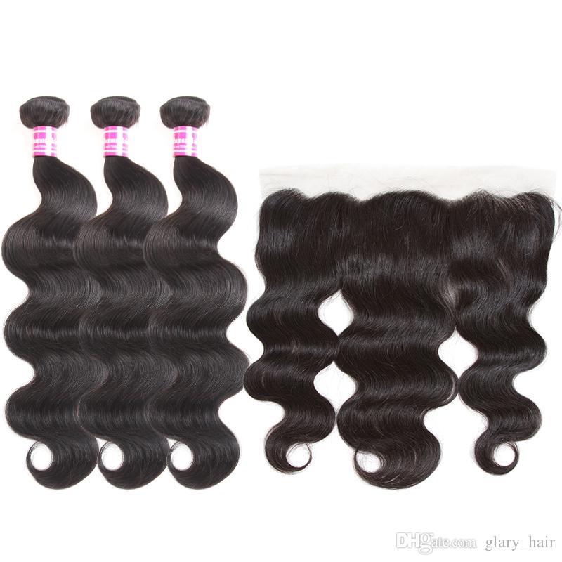 Glary رخيصة البرازيلي العذراء شعر الجسم موجة مستقيم 3 حزمة و 4x4 إغلاق الدانتيل أو 13x4 الرباط أمامي لحمة الشعر البشري