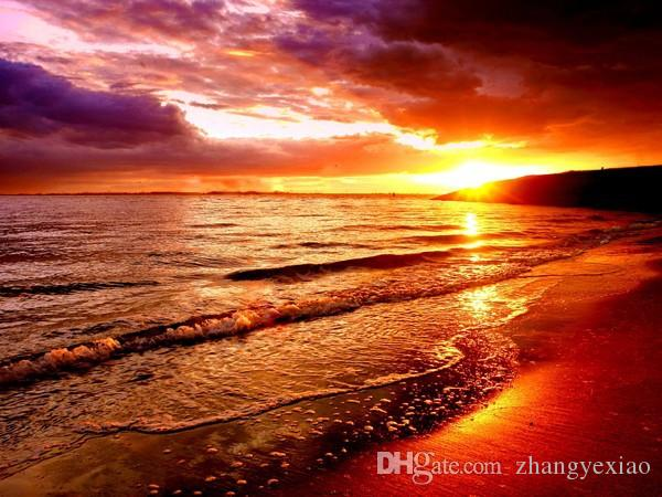 Yeni diy elmas boyama çapraz dikiş kitleri reçine yapıştırılan resim tam kare matkap İğne Mozaik Ev Dekor manzara Sunset Beach zf0008