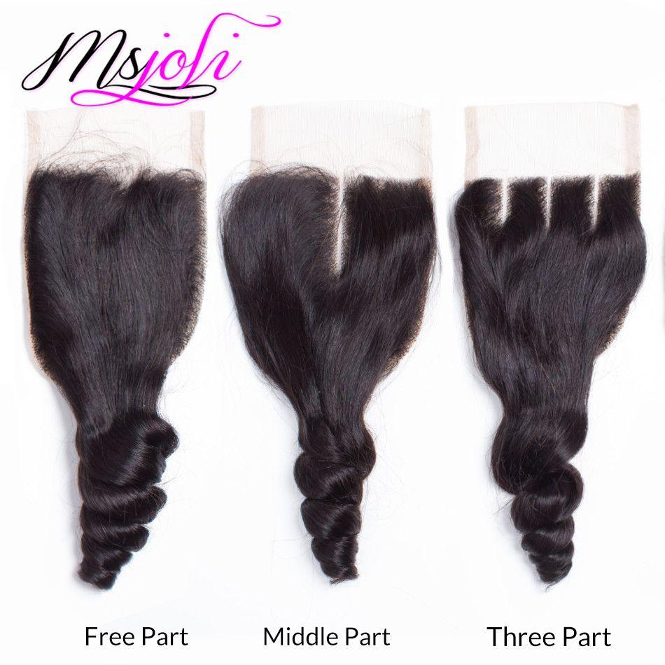 عذراء الشعر البشري 100 ٪ غير المجهزة الهندي نسج غير المجهزة فضفاض موجة اللون الطبيعي 4x4 إغلاق الدانتيل مع ثلاث حزم من السيدة جولي