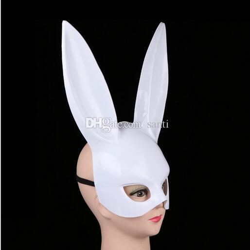 Hot Women Girl Party Rabbit Ears Mask Black White Cosplay Costume Cute Funny Halloween Mask