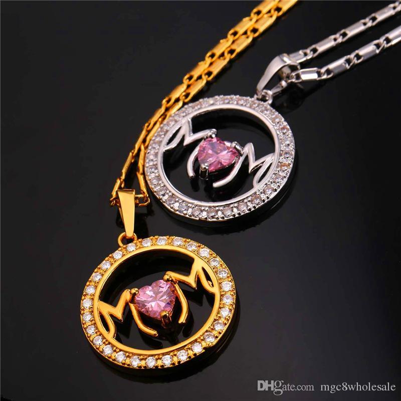 U7 Zirkonia Beste Liebe für Mama Anhänger Halskette 18 Karat Gold / Platin Überzogene Herz Frauen Schmuck Zubehör Perfekte Muttertagsgeschenk 2349