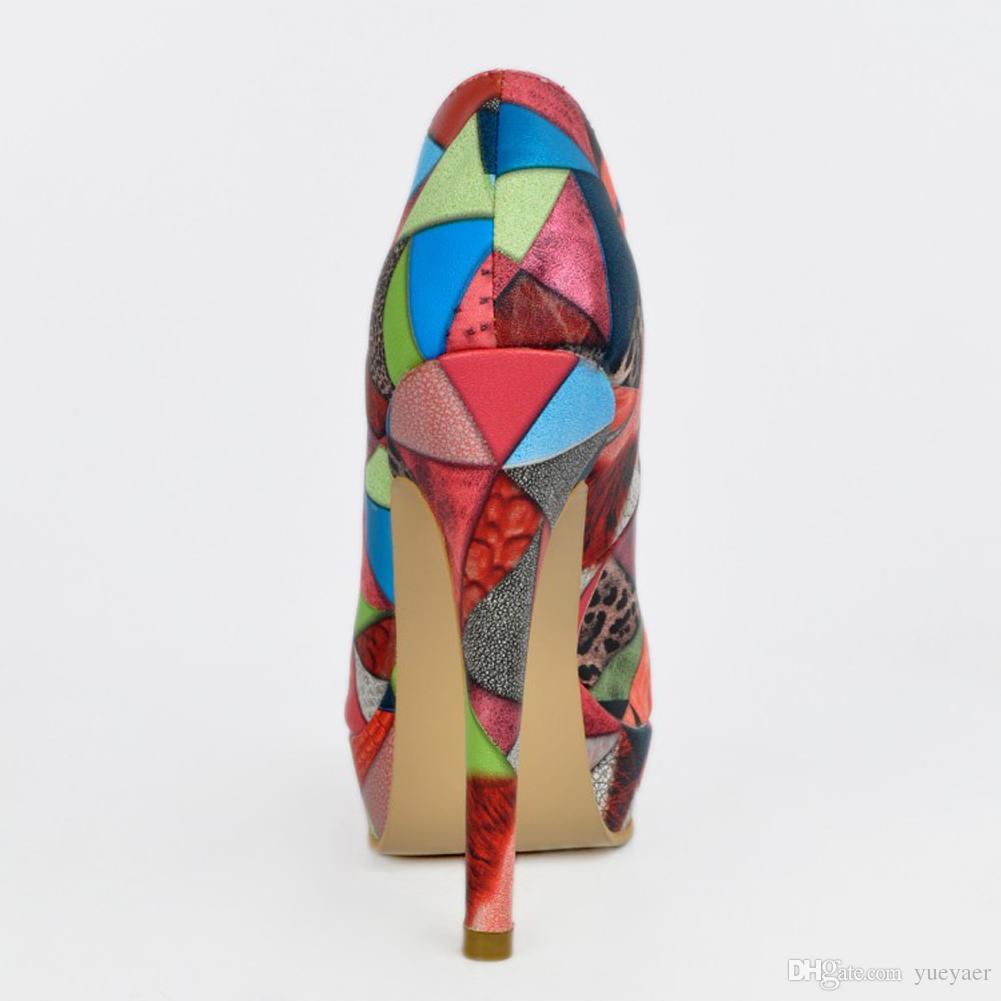 Zandina En Çok Satan Bayan Moda El Yapımı 13 cm Low-cut Platformu Patchwork Deri Yüksek Topuklu Parti Ayakkabı Karışık XD040