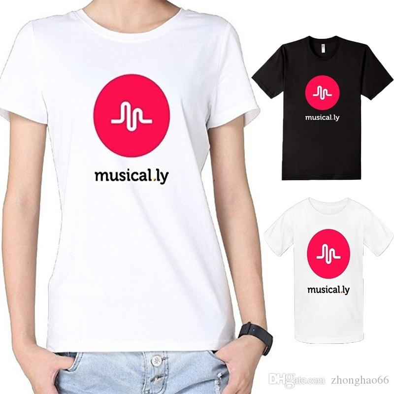 black white womens cotton musical ly logo music fans t. Black Bedroom Furniture Sets. Home Design Ideas