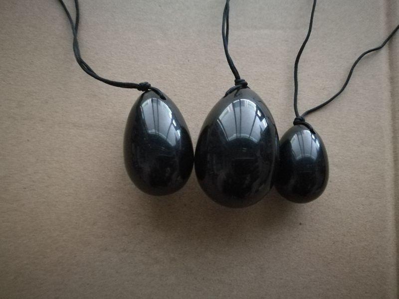 20 세트 / 많은 Kegel 운동 골반 근육 흑색 흑요석 Yoni 달걀에 대한 질식 근육 운동기 옥 계란 마사지 공