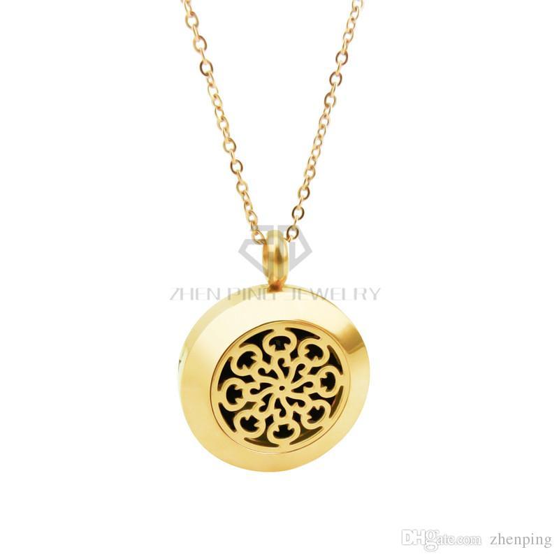 Rodada de Prata / Flor De Ouro 20-30mm Óleos Essenciais Difusor Em Aço Inoxidável Pingente de Perfume Medalhões Medalhões Aromaterapia Colar